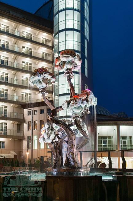 Отель Три Сына и Дочка 5* Фото - Фонтан ночью.